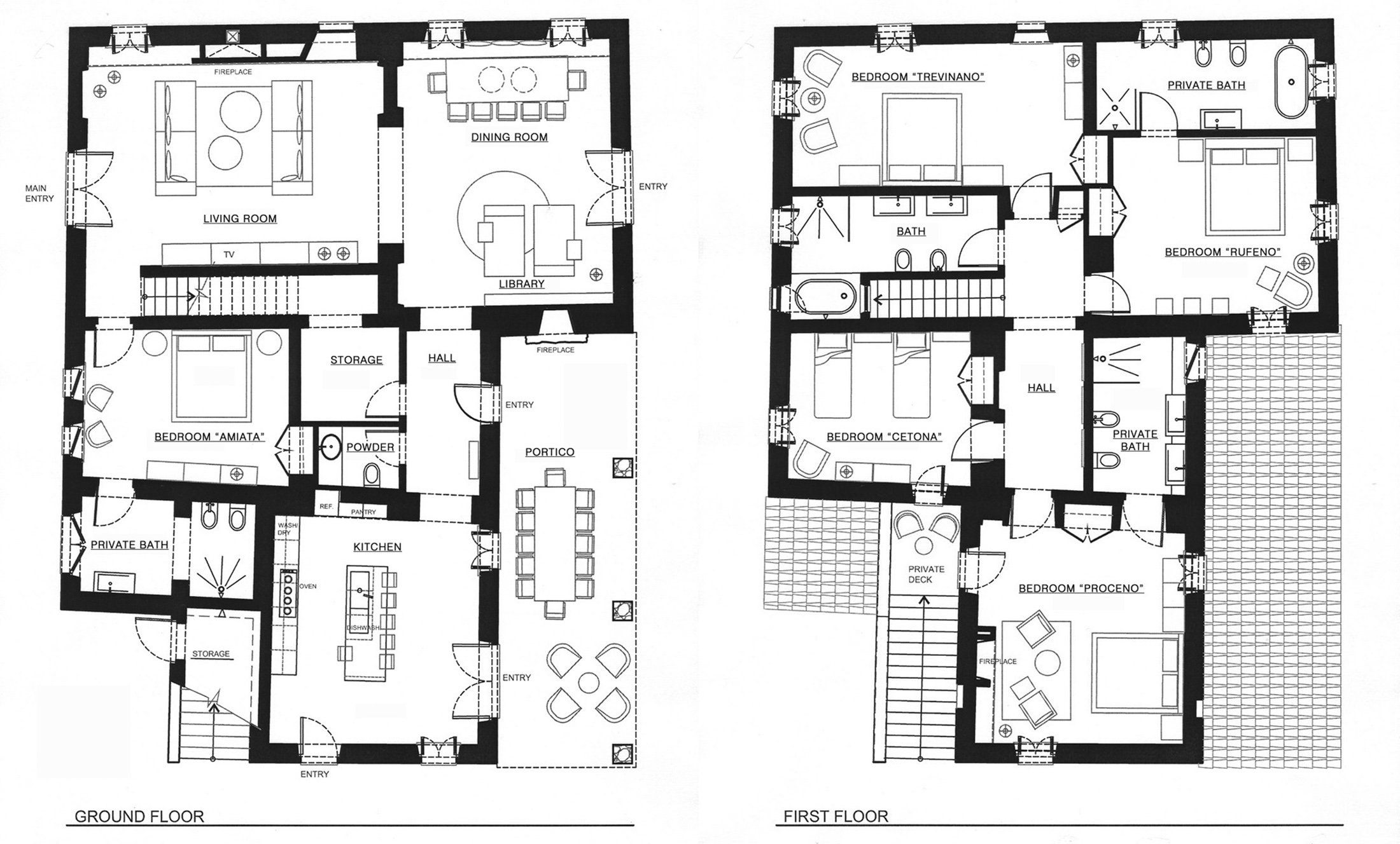 Ground floor and first floor plan round designs for Floor plans first